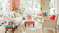 Living room with pastel colors interior design
