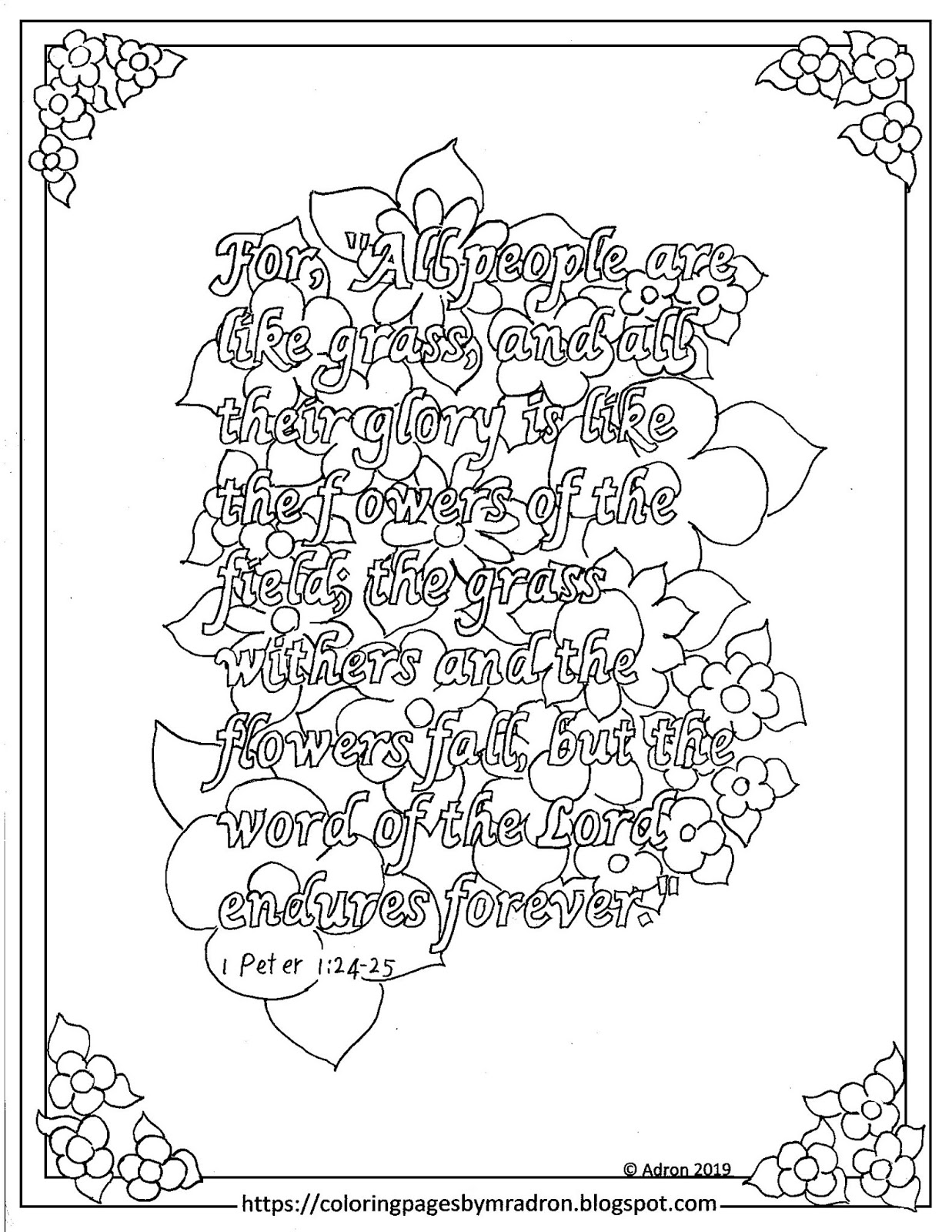 Coloring Pages for Kids by Mr. Adron: Free 1 Peter 1:24-25