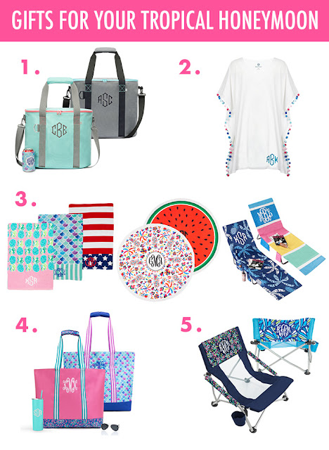 monogram items for your beach honeymoon