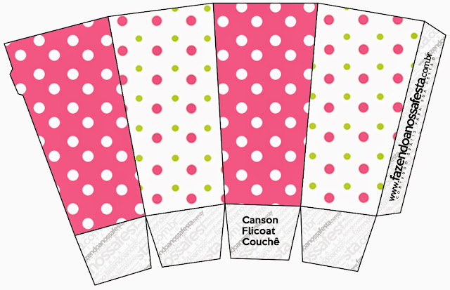 Pink, Green and White Polka Dots Free Printable Pop Corn Box.
