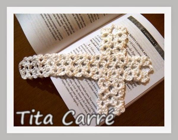 Marcador de livro - Cruz de crochet