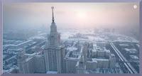 En route pour Saint Petersbourg et Moscou sous la neige, filmées depuis un drone.