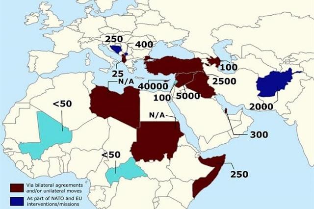 Ο χάρτης με τις στρατιωτικές δυνάμεις της Άγκυρας ανά την υφήλιο