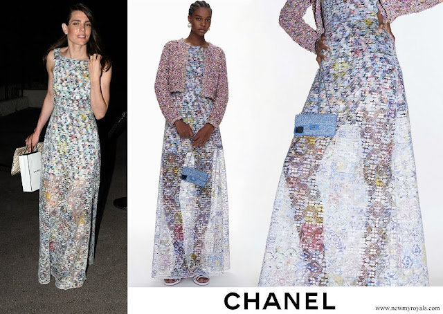 Charlotte Casiraghi wore a new cotton and mixed fibres maxi dress from Chanel
