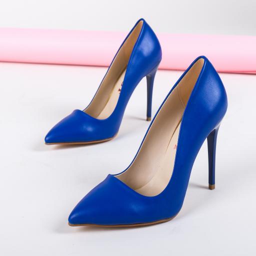 Pantofi cu toc cui albastri eleganti de ocazii