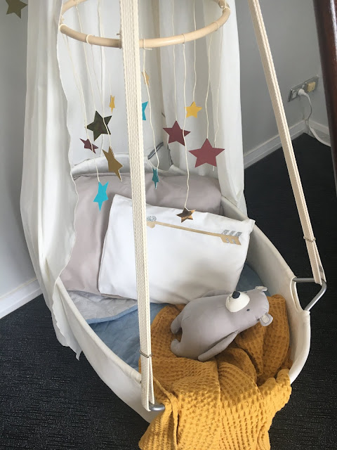 Sydney Cricut Joy Launch nursery set up with handmade star mobile