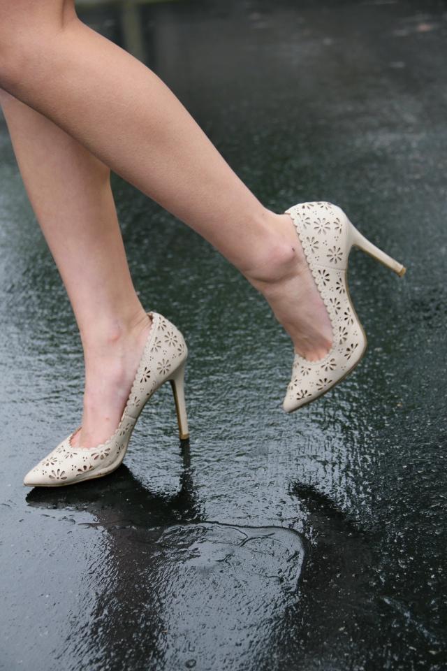 lc lauren conrad floral eyelet vegan heels nude ivory