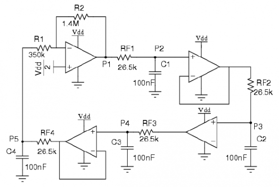 Frequency Stability in Bubba Oscillator Schematic