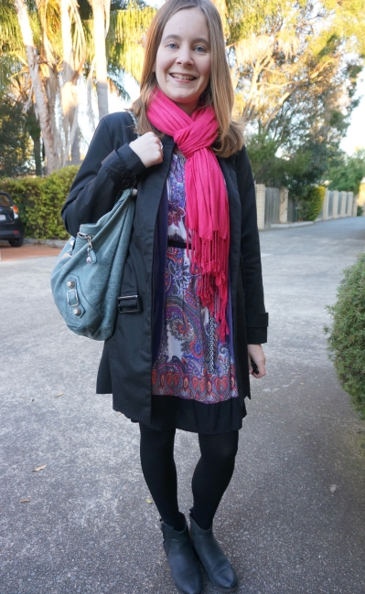 Printed dress for the office in winter ankle boots cardi scarf trench pink and purple