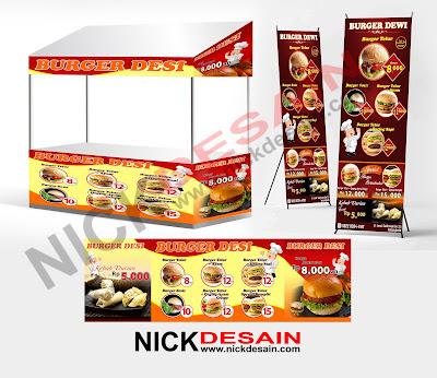 Contoh Desain Standing Banner dan Branding Booth Burger - Jasa Desain Online