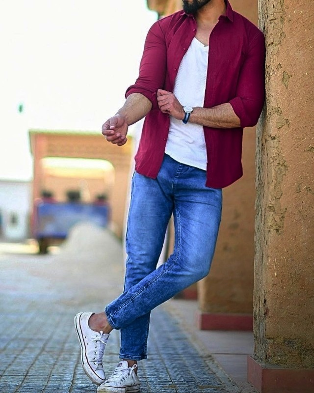 Wine color shirt, white tee with blue jeans