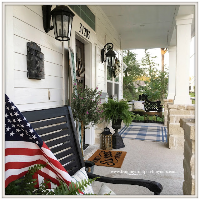 Suburban Farmhouse Front Porch-Front Porch Living-Plaid Outdoor rug-Granin Road Swing-Porch Swing-From My Front Porch To Yours