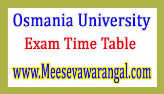 Osmania University M.Sc (ASLP) 1st / 3rd Sem Regular Jan 2017 Exam Time Table