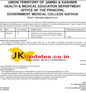 GMC Kathua Jobs Recruitment 20 Posts, GMC Kathua Jobs Recruitment, Jammu Kashmir Jobs, Government Jobs In Jammu Kashmir, jkupdates jobs,