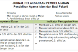 Download Jurnal PAI Kelas 5 SD/MI Semester 2 K13 Revisi 2018