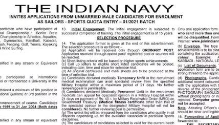 Indian Navy Recruitment 2021: Join Indian Navy as Sailors