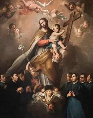 estampa antigua de San José con el NIño Jesús