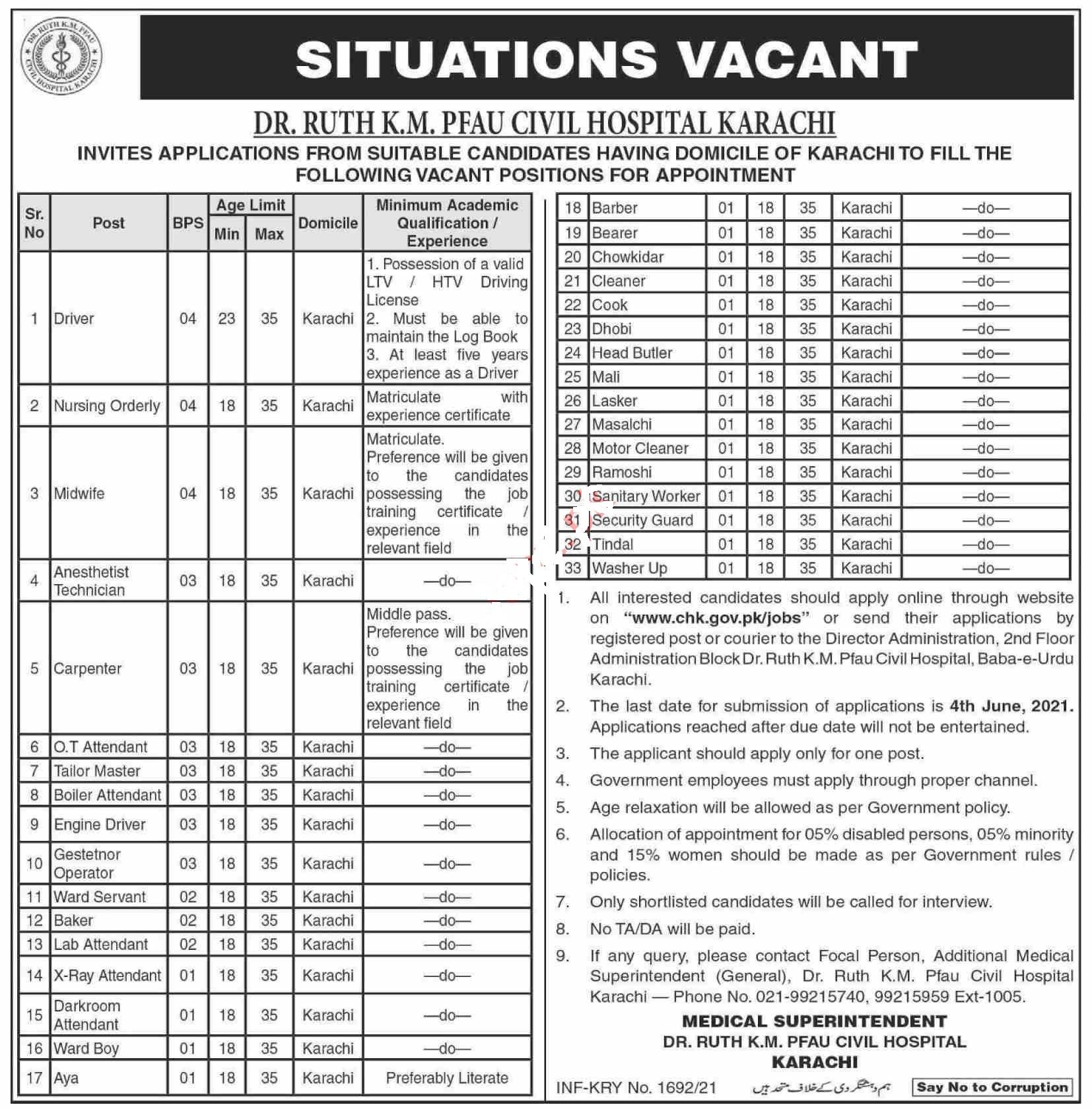 Dr Ruth K M Pfau Civil Hospital Karachi Jobs 2021 for Driver, Nursing Orderly, Midwife, Anesthestist Technician, Carpenter, OT Attendant, Tailor Master and many more