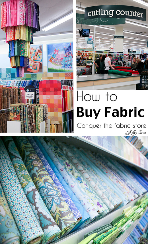 beginner's guide teach you How to shop for fabric by Melissa Mora of Melly Sews from inside a Joann Store.