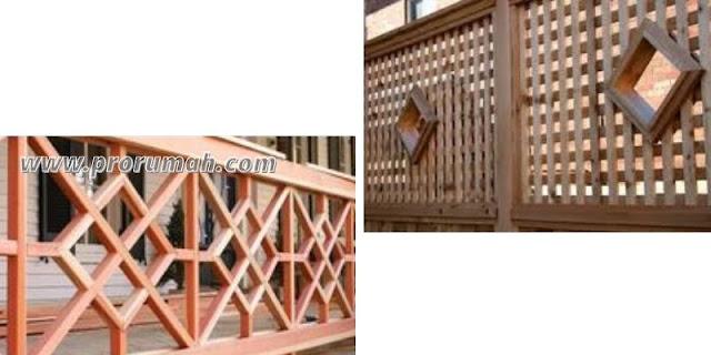 Desain Pagar Kayu Balkon Dengan Dekorasi Bentuk Berlian