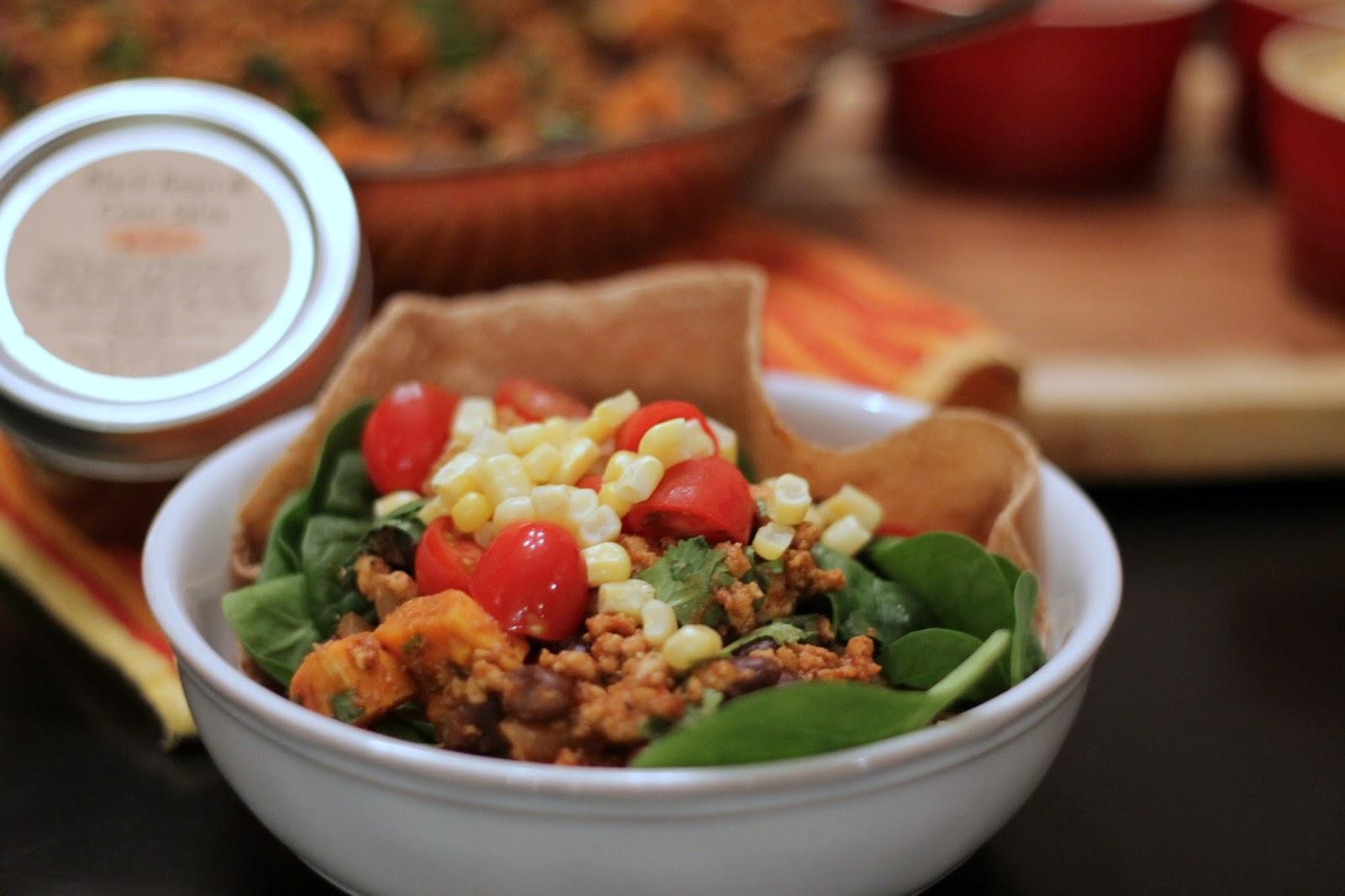 Turkey, Black Bean and Sweet Potato Taco Salad Bowls