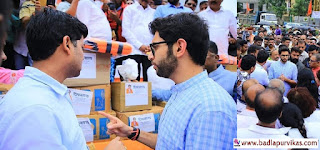 Mumbai (Badlapur Vikas Media): Shiv Sena party chief Uddhav Thackeray handed over a Shiva-assisted material to the flood victims after paying tribute to the statue of Jijau Maa Saheb at Shivajipark. Aditya Thackeray, Chief Minister Subhash Desai, Shiv Sena leaders and cadres were present on the occasion.  Shiv Sena support teams have also departed today for the Mahad, Yai, Patan, areas where the floods have subsided. The Shiv Sena plans to send help only by contacting the Collector and the administration. Uddhav Thackeray said at the time that the flood water in some areas of Kolhapur-Sangli is still not flowing there. We will not go there to show our dry, sympathetic - Uddhav Thackeray  We have also sent help in Konkan. Shiv Sena is assisting flood victims all over Maharashtra. Uddhav Thackeray clarified that we would not go there to show a dry and sympathetic attitude, not to go on a tour of the flood-hit areas that we are cooperating with in our own way.
