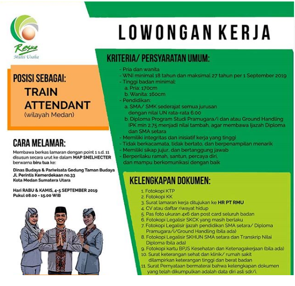 Lowongan PT Reska Multi Usaha Train Attendant Wilayah Medan Tingkat SMA D3
