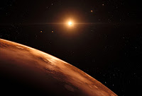 Artist's impression of view from distant planet in the TRAPPIST-1 planetary system