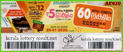Kerala Lottery Result 29-01-2020 Akshaya AK-430 (keralalotteryresult.net)