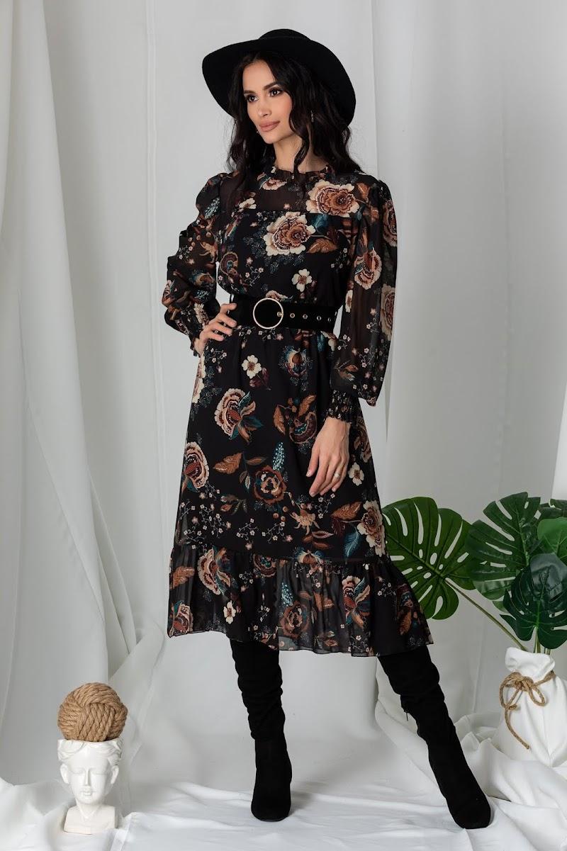 Rochie Lia neagra cu imprimeuri florale maro, imbracate la moda