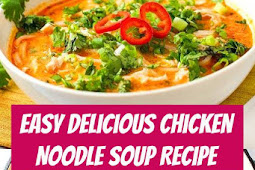 Easy Chicken Noodle Soup Recipe #chicken #chickensoup #soup #dinner #comfortfood