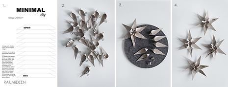 Papiersterne selber falten - die Druckvorlage für die 3D Sterne aus Papier findest du im MINIMALmagazin