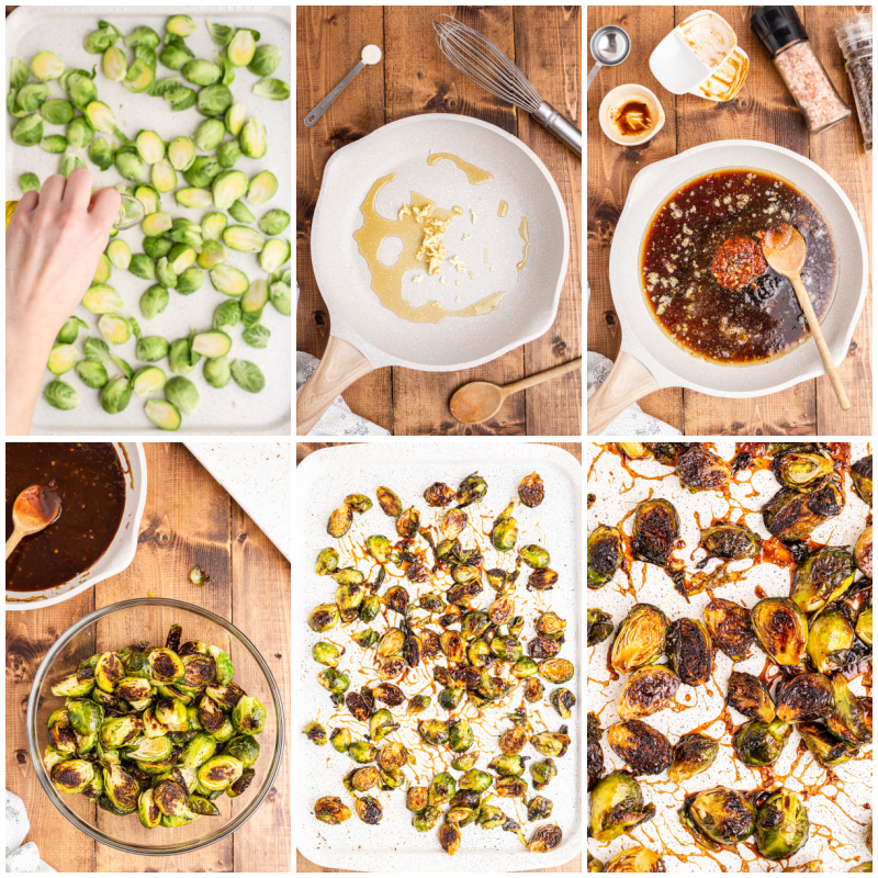 Six photos of the process of making Kung Pao Brussels Sprouts.