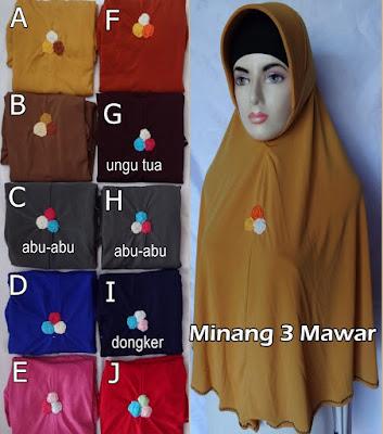 Grosir Jilbab Minang 3 mawar