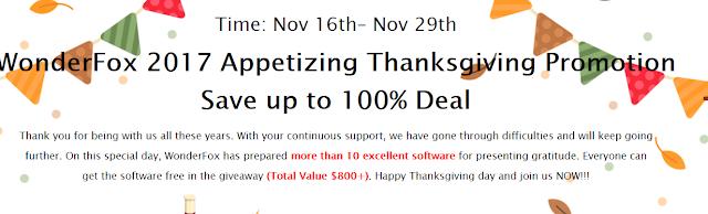 WonderFox 2017 Appetizing Thanksgiving Giveaway
