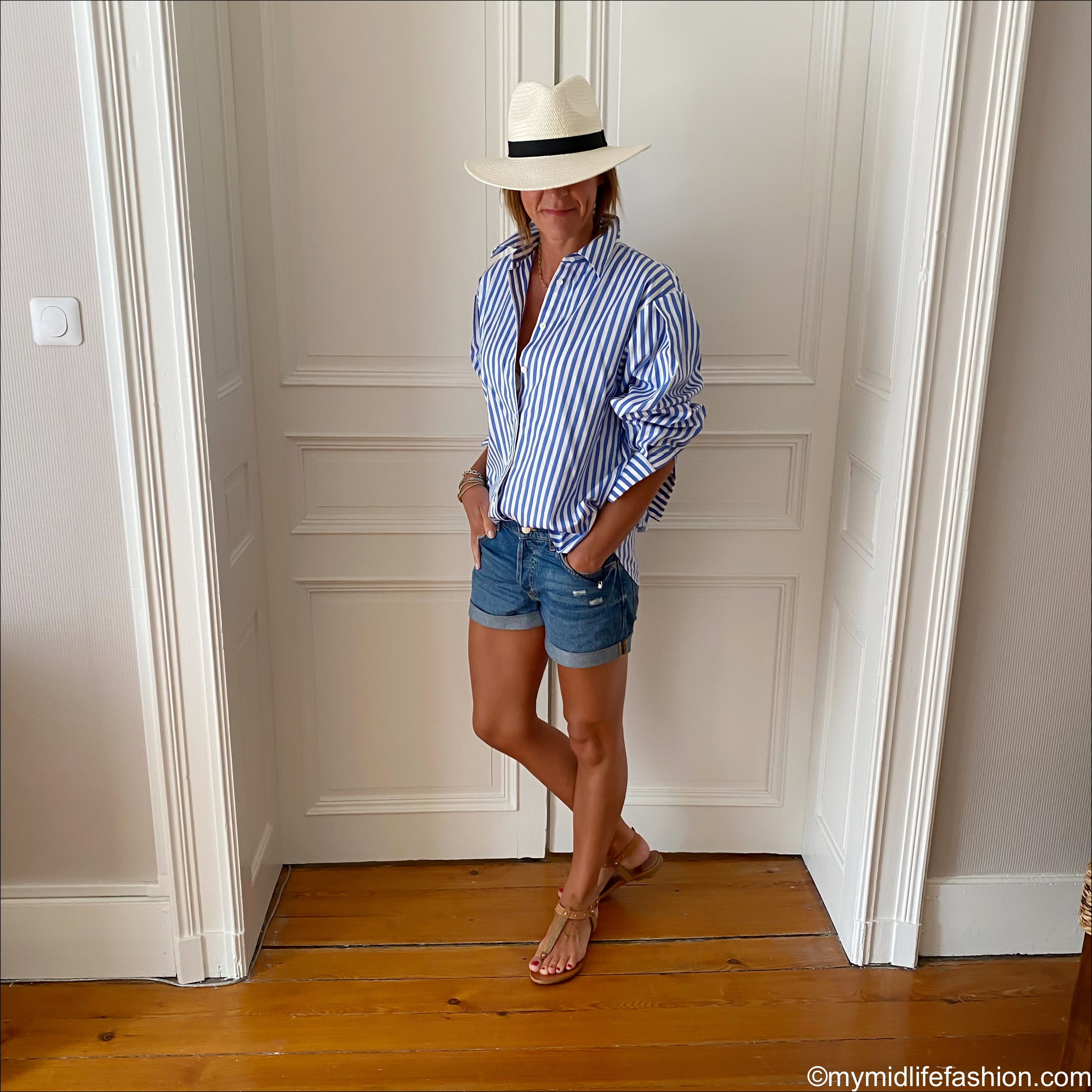 my midlife fashion, zara Panama hat, and other stories striped relaxed fit shirt, h and m conscious boyfriend denim shorts, Carvela tan thong sandals