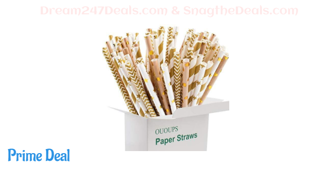 40%OFF Gold Paper Straws,Stripe Paper Straws, Christmas Paper Straws Biodegradable 100-Pack