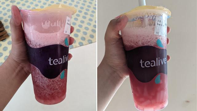 Grape Velvet Smoothie bersama coconut jelly
