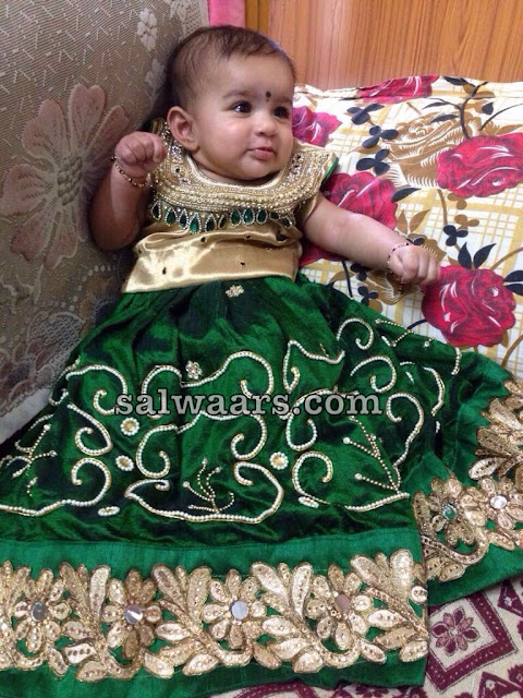 Pretty Kiddo in Pearl Lehenga