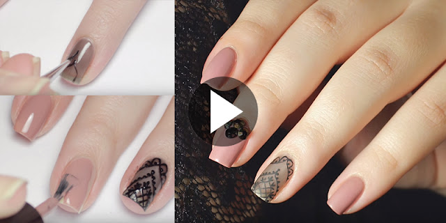 Learn - How To Create Sheer Black Lace Nail Art, See Full Tutorial