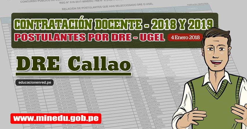 DRE Callao: Lista de Postulantes por UGEL DRE - Contrato Docente 2018 (.PDF) www.drec.gob.pe