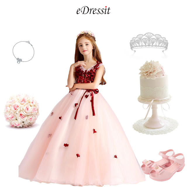 Red/White Children Wedding Flower Girl Dress