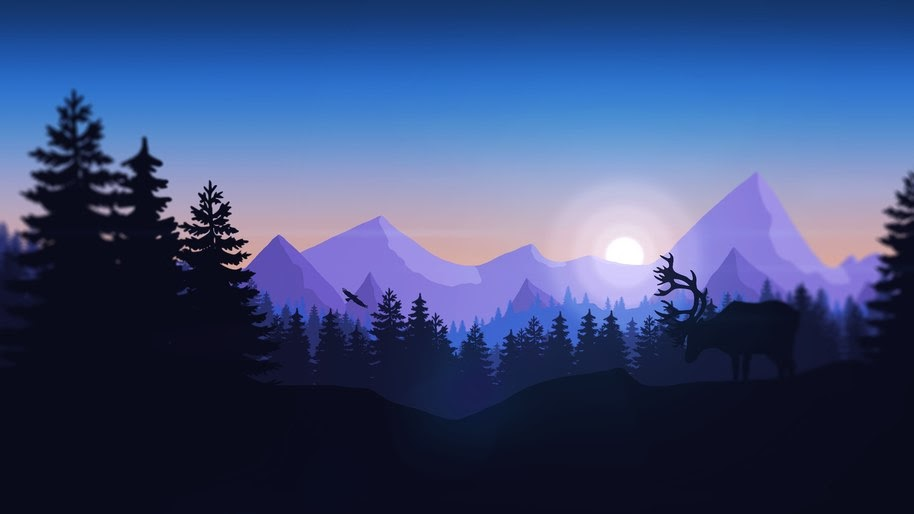 Minimalist, Nature, Forest, Mountains, Silhouette, Digital Art, 4K, #35