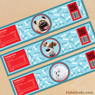 secret life of pets water bottle labels