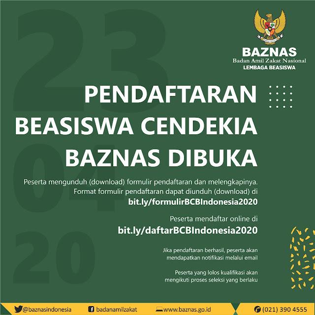 pendaftaran beasiswa cendekia baznas 2020