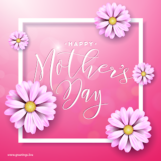 flowers frame shining light effect happy mothers day greetings