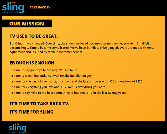 Thoughts after a year of Sling TV - their mission statement. Take Back TV!