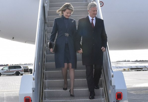 King Philippe and Queen Mathilde of Belgium were welcomed by Ambassador Olivier Nicoloff and Fatemeh Javadi at Ottawa International Airport, Canada
