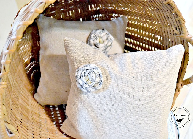 Small rosette DIY drop cloth and ticking pillows