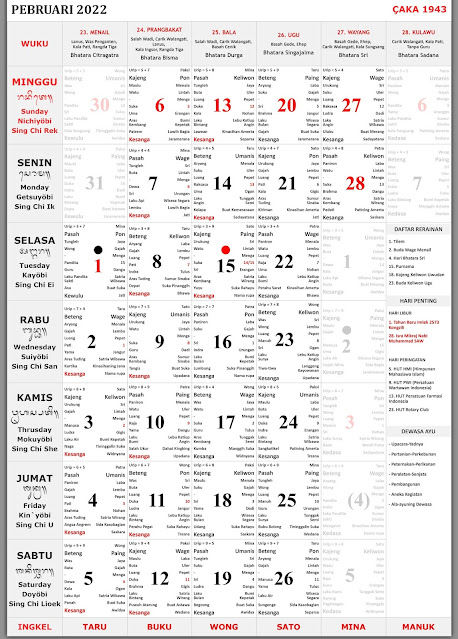 Kalender Bali Februari 2022 Lengkap
